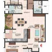 Brigade Meadows Floor Plan 1510 Sqft. 3 BHK + 3T (Plumeria)