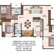 Brigade Meadows Floor Plan 1630 Sqft. 3 BHK + 3T (Plumeria)