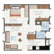 Brigade Meadows Floor Plan 780 Sqft. 1 BHK (Plumeria)