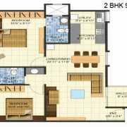 Brigade Meadows Floor Plan 950 Sqft. 2 BHK