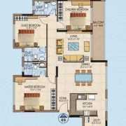 Salarpuria Aspire Floor Plan 1949 Sqft. 3 BHK