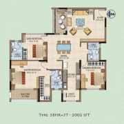 Salarpuria Aspire Floor Plan 1981 Sqft. 3 BHK
