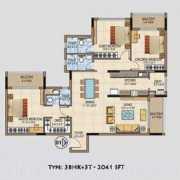 Salarpuria Aspire Floor Plan 2041 Sqft. 3 BHK