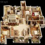 ATS Triumph Floor Plan 3150 Sqft. 4BHK+Family Launge+Servant