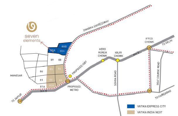 Vatika Seven Elements Location Map