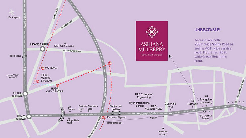 Ashiana Mulberry Location Map