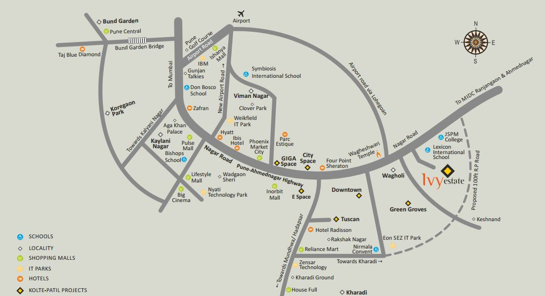 Kolte Patil Ivy Estate Location Map