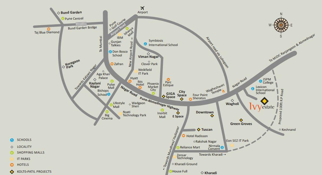 Kolte Patil Ivy Estate Location Map