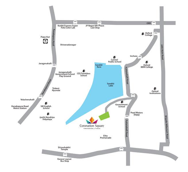 Purva Coronation Square Location Map