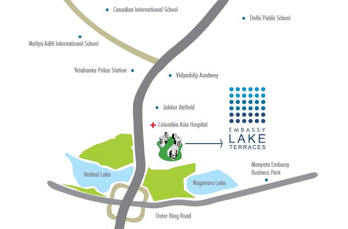 Embassy Lake Terraces Location Map