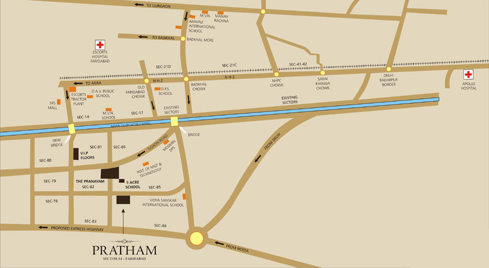 Puri Pratham Location Map