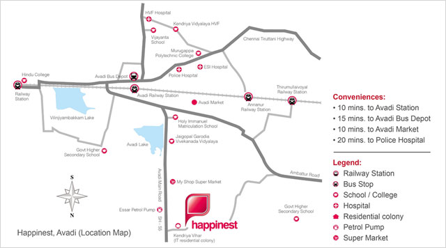 Mahindra Happinest Avadi Location Map