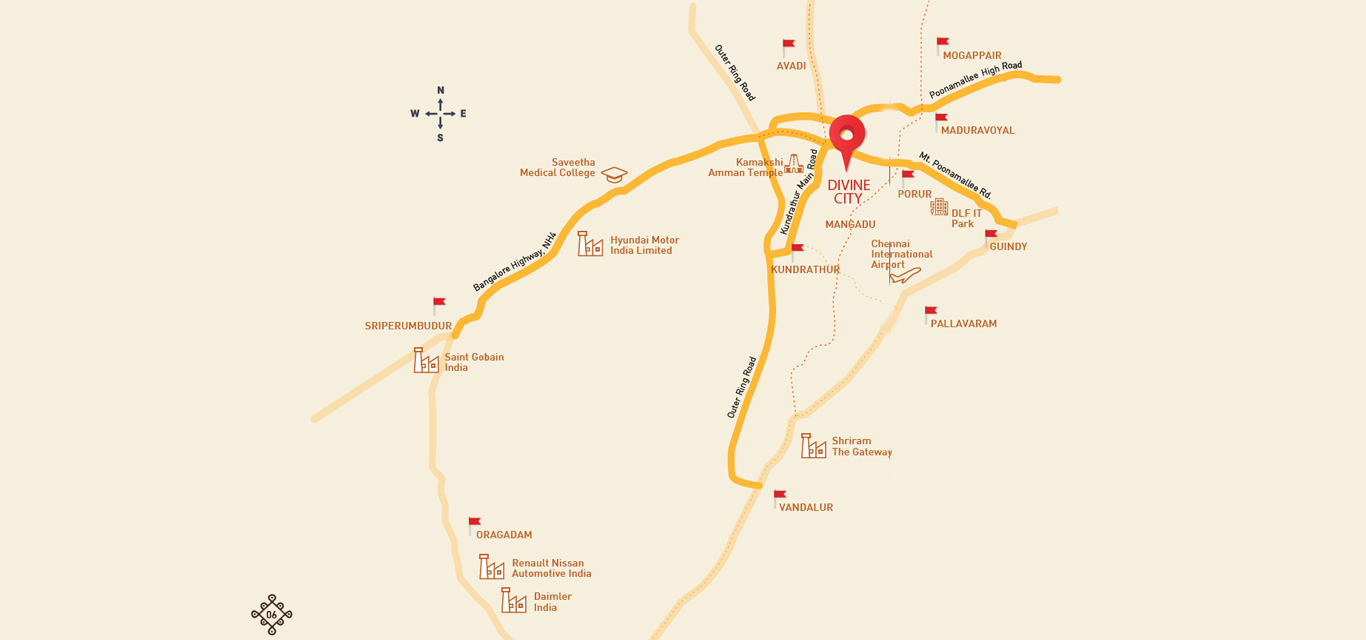Shriram Divine City Location Map