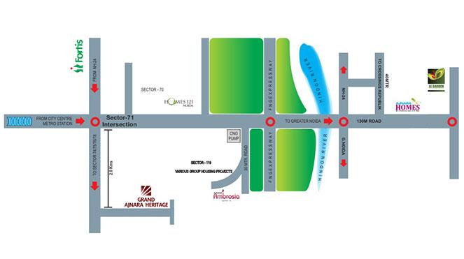 Ajnara Grand Heritage Location Map