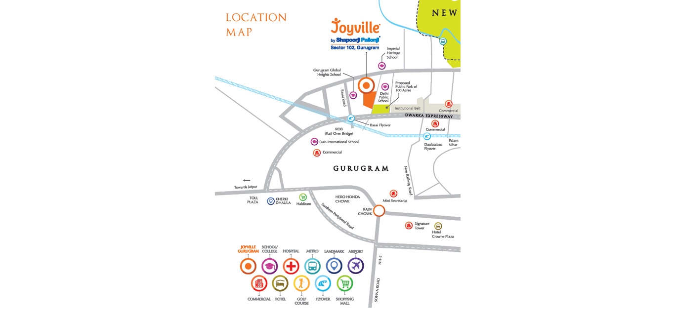 Shapoorji Pallonji Joyville Gurgaon Location Map