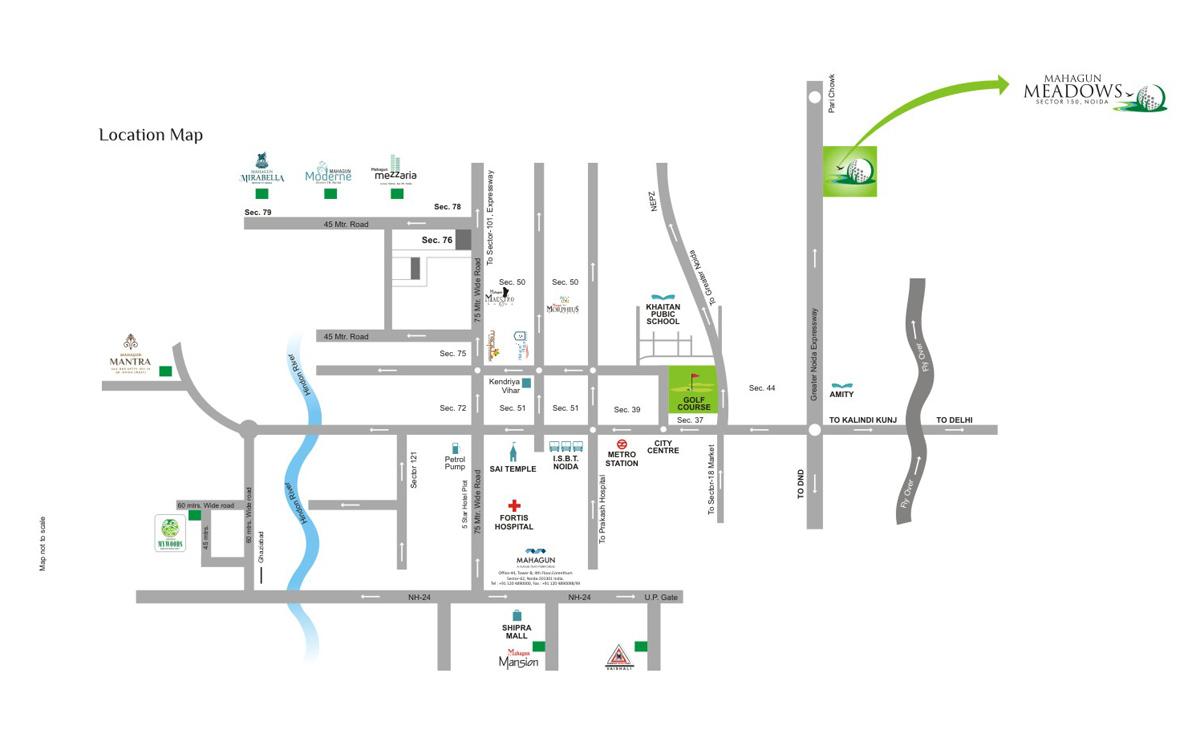 Mahagun Meadows Location Map